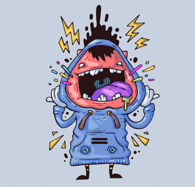 Screaming boy. the crazy guy is crying loudly. cartoon illustration. character in the modern graphic style. Premium Vector