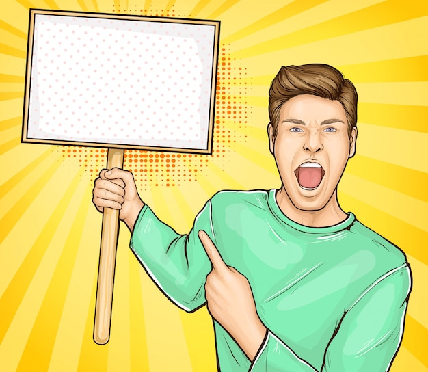 Screaming man with blank placard on stick vector Free Vector