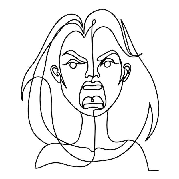여자 한 라인 아트 초상화 비명. 불행한 여성 표정. 손으로 그려 선형 여성 실루엣. 프리미엄 벡터