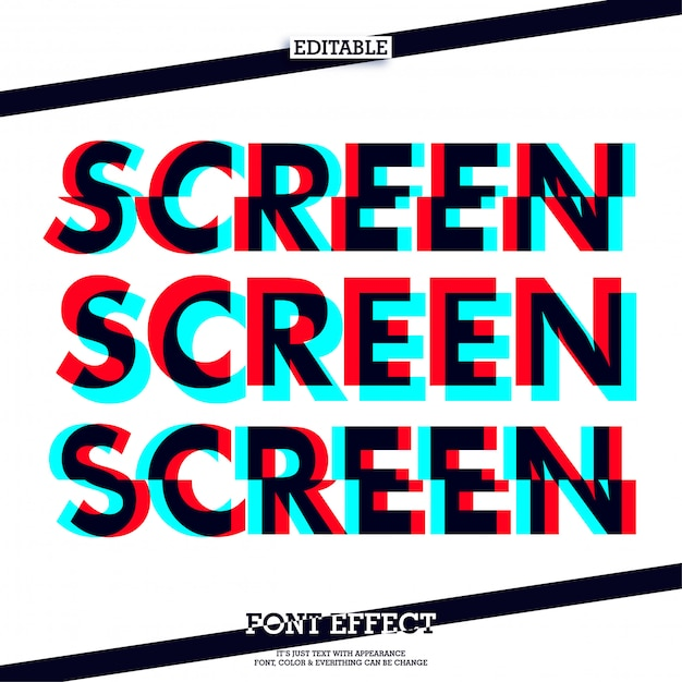 Screen fashion text effect Premium Vector