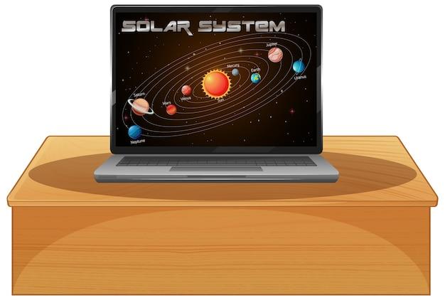 태양계를 가진 스크린 노트북 무료 벡터