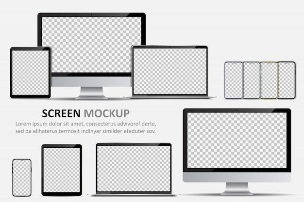 Макет экрана. монитор компьютера, ноутбук, планшет и смартфон с пустым экраном для дизайна Premium векторы