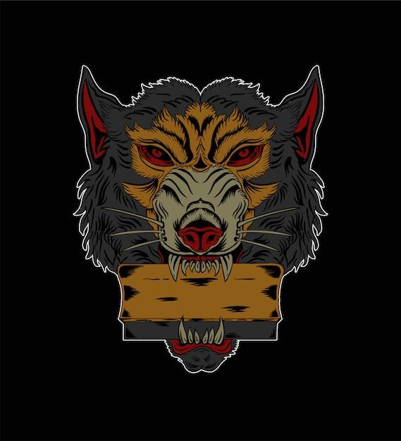 Screen printing rackets illustration and wolf illustration Premium Vector