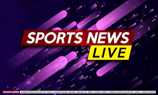 Screen saver on sports  breaking news. Premium Vector