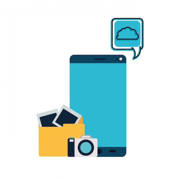 Screen smartphoen with camera isolated icon Premium Vector