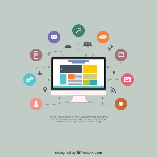 Screen with a website and icons Free Vector