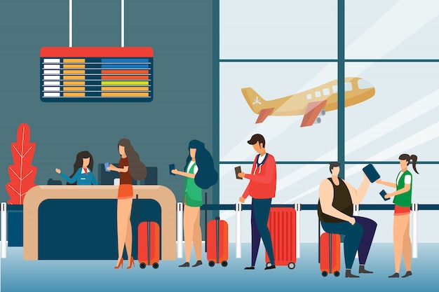 Screening passengers, check in airport group of mix race passengers standing in queue to counter, departures board concept flat design. travel and tourist Premium Vector