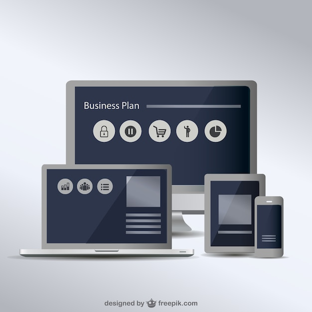 Screens set to show responsive design Premium Vector