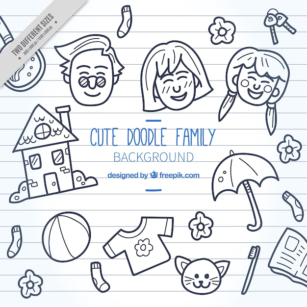 Scribble background of elements and family Free Vector