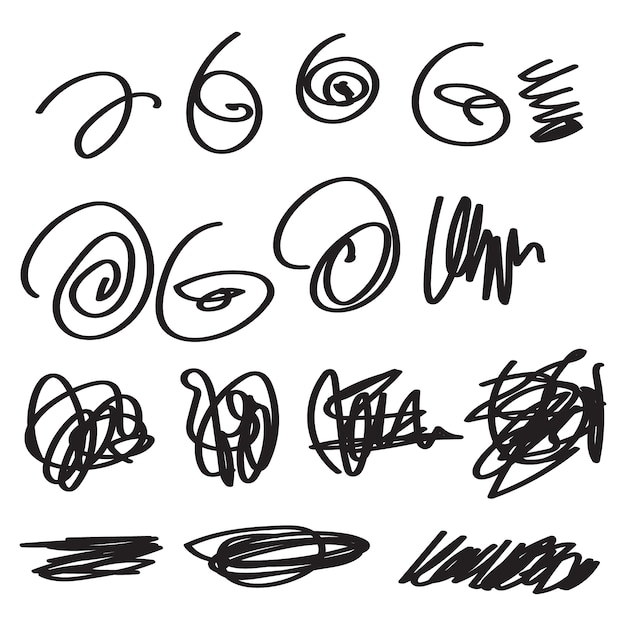 Scribble set isolated in white Premium Vector