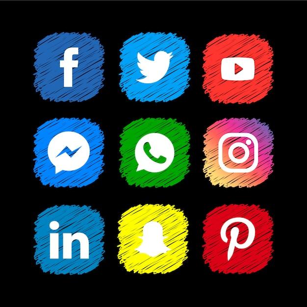 Scribble коллекция икон в социальных сетях Premium векторы