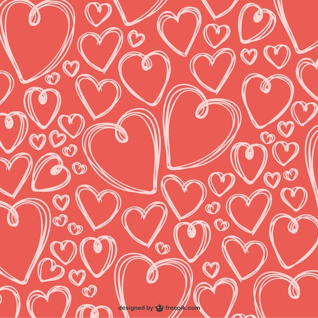 Scribbled Valentine hearts background Vector | Free Download