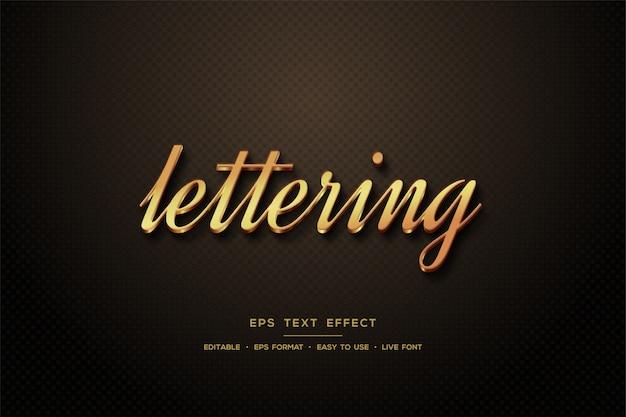 Script text style effect 3d elegant gold color. Premium Vector
