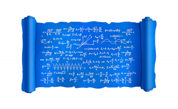 Scroll with lot of hand-drawn complicated scientific formulas and calculations, blueprint plan on white Premium Vector