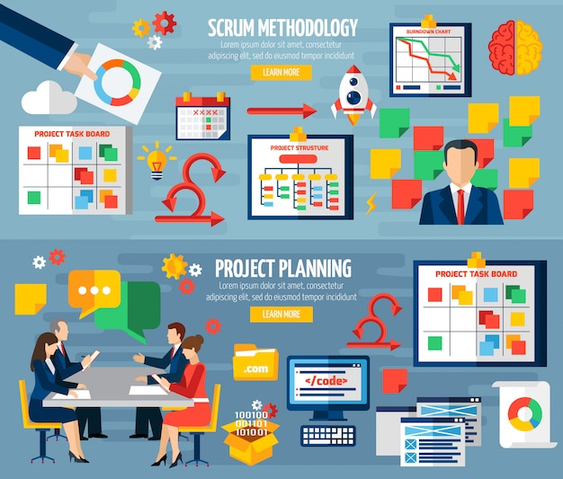 Scrum agile 2 flat banners set Free Vector