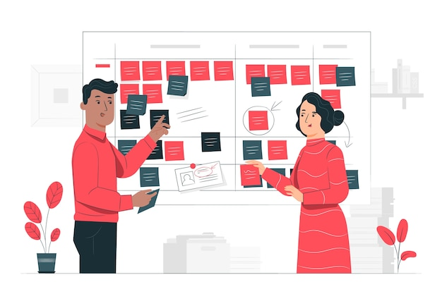 Scrum board concept illustration Free Vector
