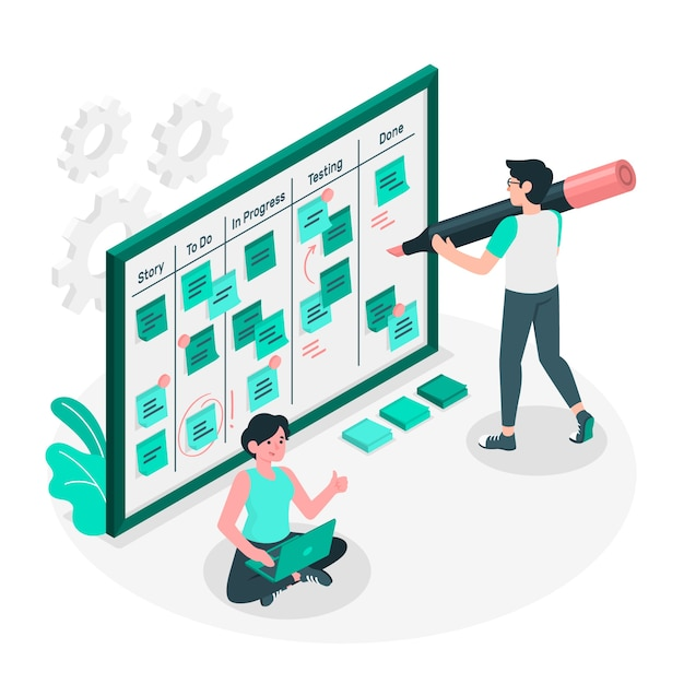 Scrum board concept illustration Free Vector taken from Freepik