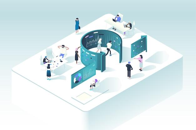 Концепция методологии scrum. иллюстрация показывает, как люди взаимодействуют в рабочем процессе по правилам управления проектами agile. Premium векторы