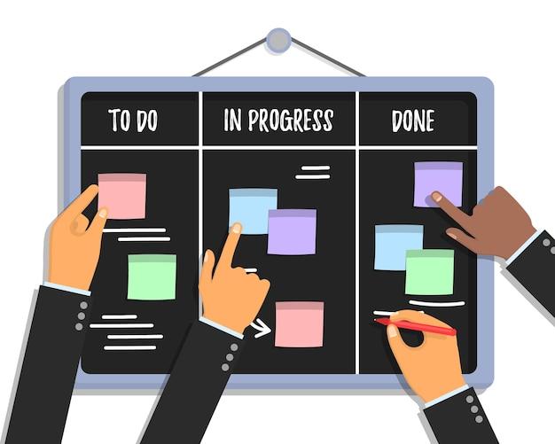 다채로운 스티커 종이와 마커를 들고 인간의 손으로 스크럼 작업 보드 개념 프리미엄 벡터