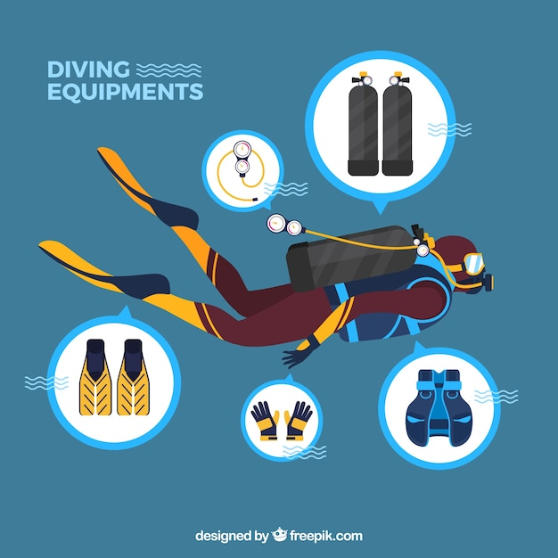 Scuba diver swimming with accessories Free Vector