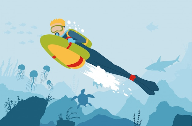 Scuba diver with sea bob explores the bottom of the sea. Premium Vector