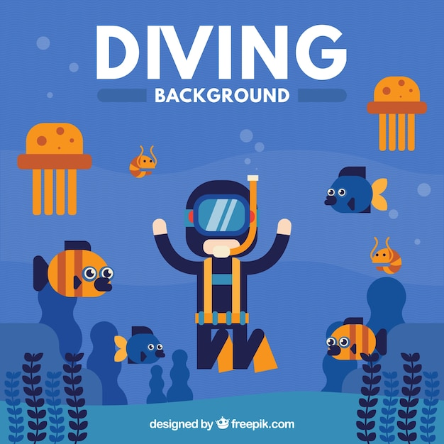 Scuba diver with sea creatures background in flat design Free Vector