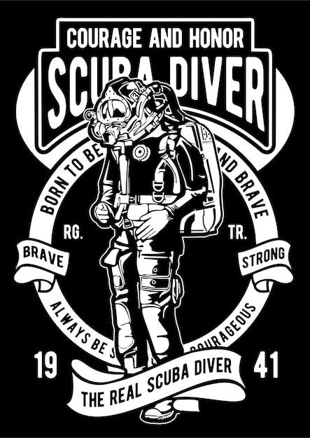Scuba diver Premium Vector