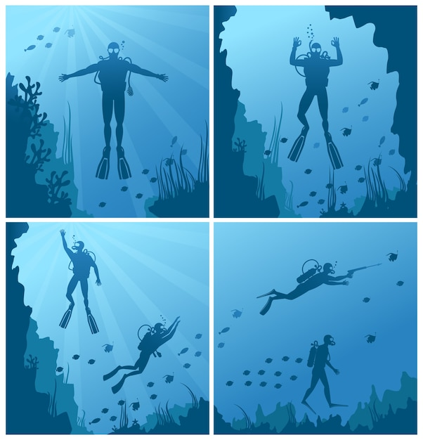 Scuba divers under water. ocean and sea, diver deep sport, diving and reef, natural fish. Free Vector