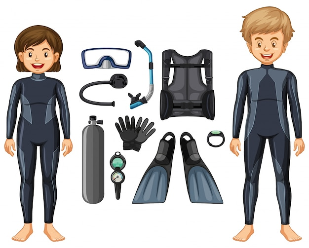 Scuba divers in wetsuit and different equipments Free Vector