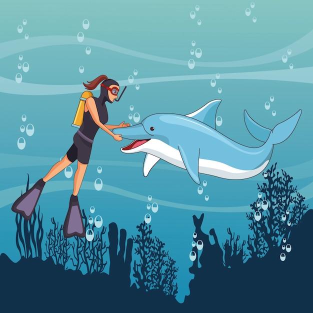 Scuba diving avatar cartoon character Free Vector