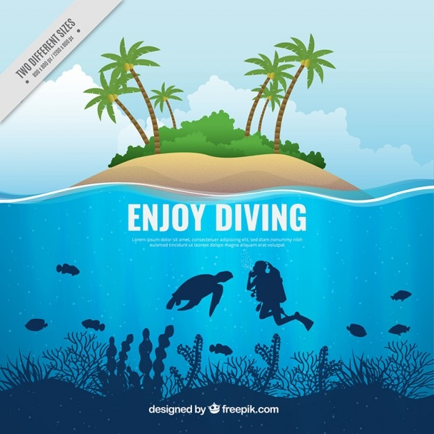 Scuba diving background and island Free Vector