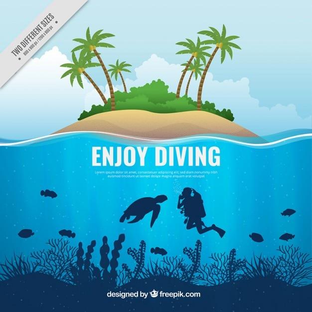 Scuba diving background and island Premium Vector