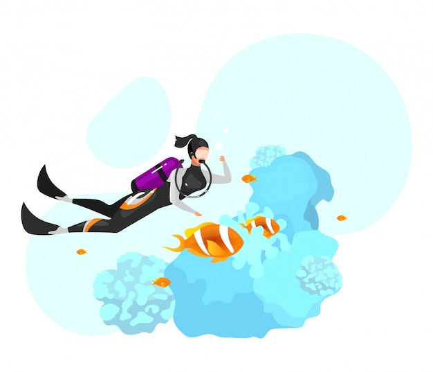 Scuba diving flat  illustration. underwater diving, snorkeling. extreme sports experience. active lifestyle. summer outdoor activities. sportswoman isolated cartoon character on blue background Premium Vector