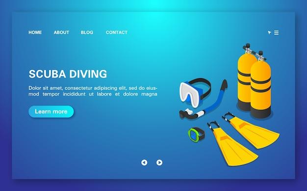 Scuba diving landing page template Premium Vector
