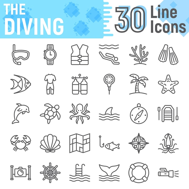 Scuba diving line icon set, underwater symbols collection Premium Vector