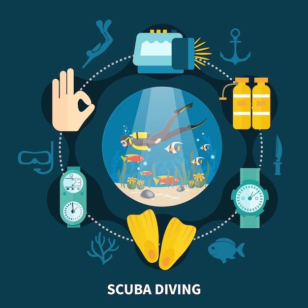 魚と水中機器のアイコンの間を泳ぐ人とのスキューバダイビングラウンド構成 無料ベクター