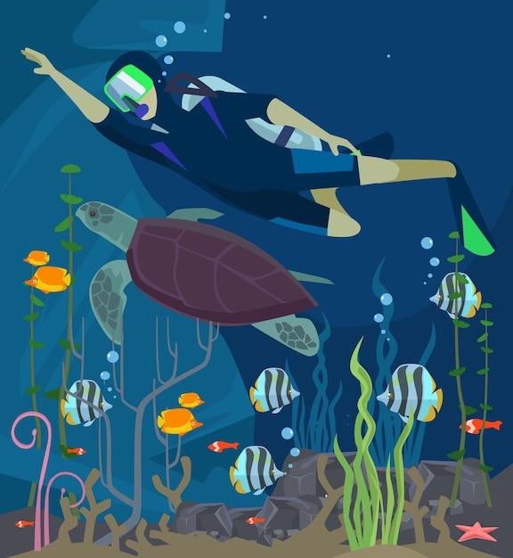 스쿠버 다이빙. 해양 생물. 플랫 만화 일러스트 레이션 프리미엄 벡터