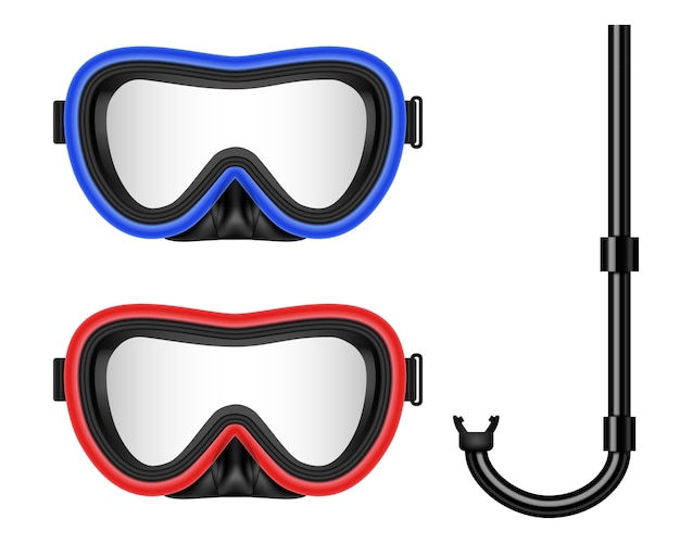 Scuba diving, swimming mask with snorkel Premium Vector