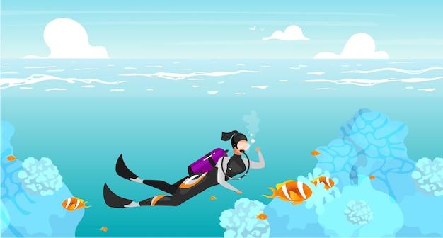 Scubadivingフラットイラスト。水中スイミングスポーツウーマン。深海ダイビング。海の野生生物。野外活動。夏休み。背景色が水色のスキューバダイバーの漫画のキャラクター Premiumベクター