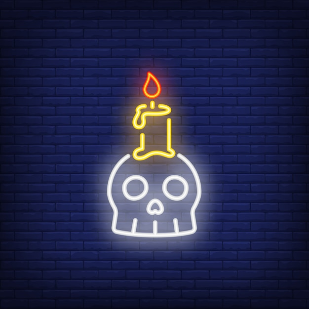 Scull candle neon sign Free Vector