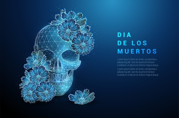 Scull with flowers. dia de los muertos concept. low poly style design. abstract geometric background. wireframe light connection structure. modern   concept. isolated . Premium Vector