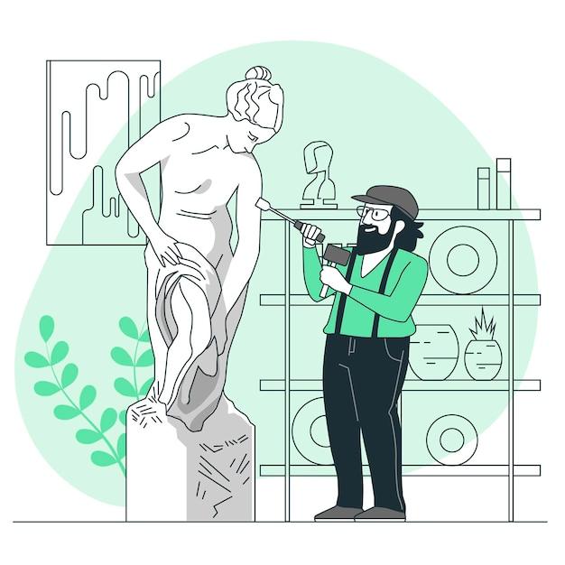 Illustrazione di concetto di scultura Vettore gratuito