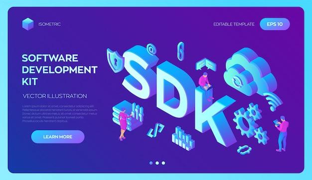 Sdk。ソフトウェア開発キットプログラミング言語技術。アイコンとキャラクターを含む3dアイソメトリック。 Premiumベクター