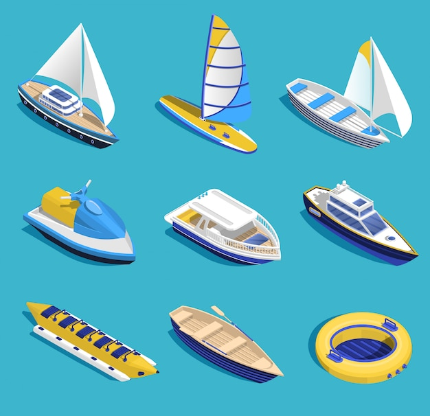 Sea activities set Free Vector