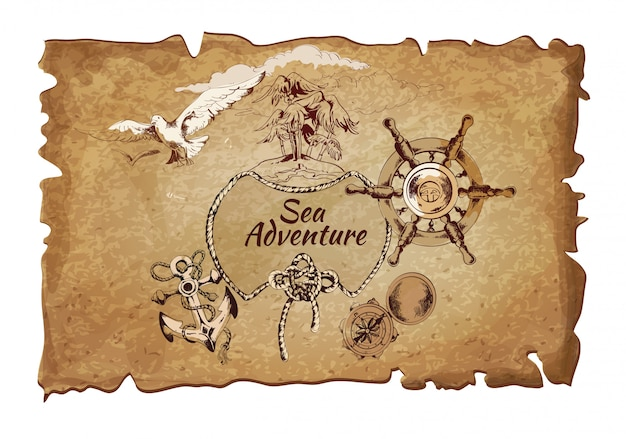Sea  adventure ancient paper Free Vector