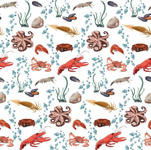 海と海の動物のシームレスパターン 無料ベクター