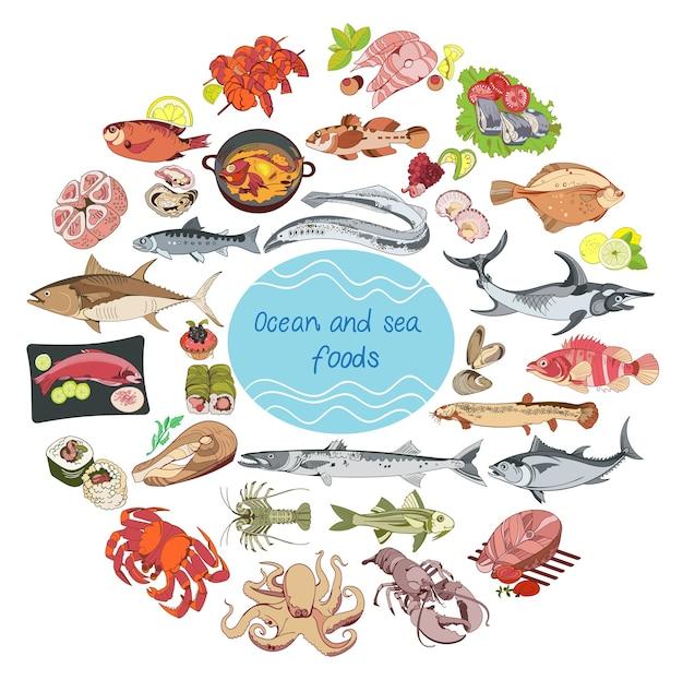 Концепция раунда морепродуктов и океанов Бесплатные векторы