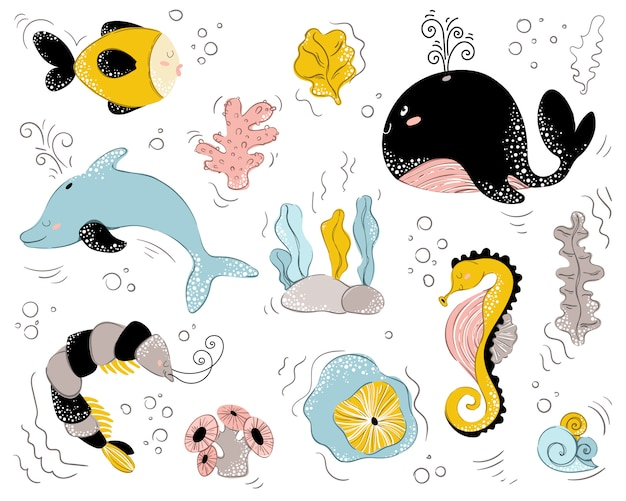 Sea animal cute characters on white Premium Vector