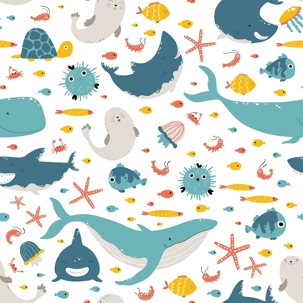 Морские животные и рыба. Premium векторы