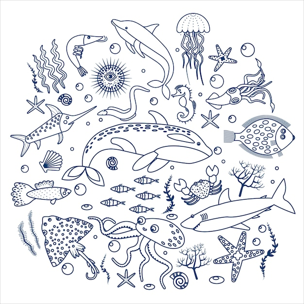 Sea animals and fish label Premium Vector